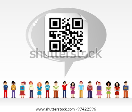 Social media network connection concept with QR code over light background - stock vector