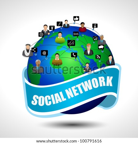 Social media network connection isolated on grey background. EPS 10. Vector illustration. - stock vector