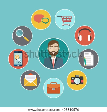 Social media network. Growth background with lines, circles and integrate flat icons. Connected symbols for digital, interactive, market, connect, communicate, global concepts. Vector illustration - stock vector