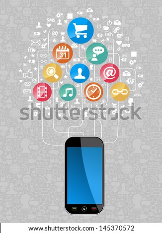 Social media network icon set diagram with smartphone. Vector illustration layered for easy manipulation and custom coloring.