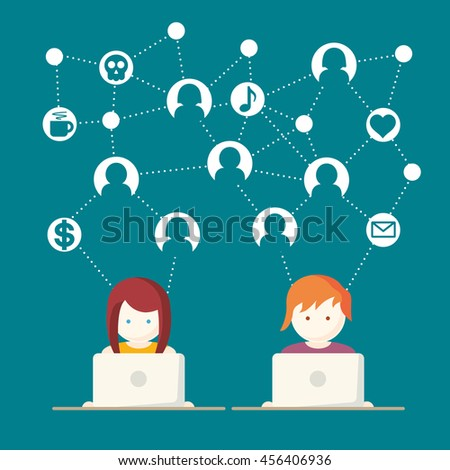 Social Media, network people with computers vector illustration  - stock vector