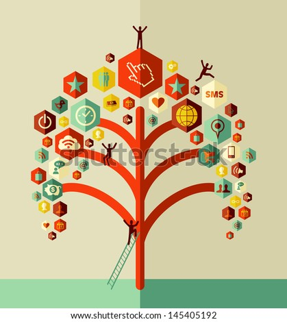 Social media network tree concept design. Vector file layered for easy manipulation and custom coloring. - stock vector
