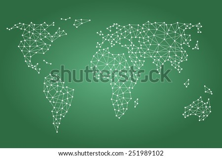 Social media network. World map with nodes linked by lines. - stock vector