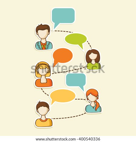 Social media, Networking and Communication concept with illustration of people and blank speech bubbles. - stock vector