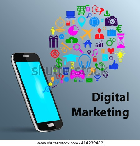 Social media networking, mobile phone computer with application icon, technology business software idea concept, digital marketing. Hologram.