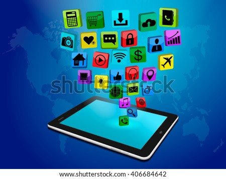 Social media networking, tablet computer with application icon,  technology business software idea concept,digital marketing, vector illustration