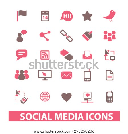 social media, networks, community, blog isolated icons, signs, illustrations for web, internet, mobile application, vector - stock vector