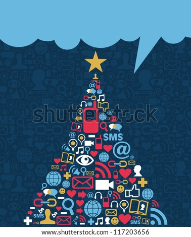 Social media networks icon set in Christmas pine tree greeting card background. Vector illustration layered for easy manipulation and custom coloring. - stock vector