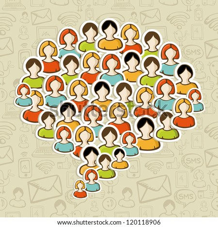 Social media networks users in speech bubble shape over pattern. Vector illustration layered for easy manipulation and custom coloring. - stock vector