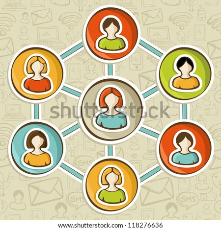 Social media networks web marketing connection diagram. Vector illustration layered for easy manipulation and custom coloring. - stock vector