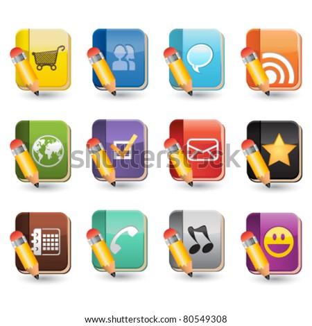 Social Media of Book Icon Set - stock vector