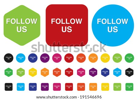Social media or social network concept follow us button - stock vector