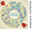 Social Media Ornamental Network with Icons - stock photo