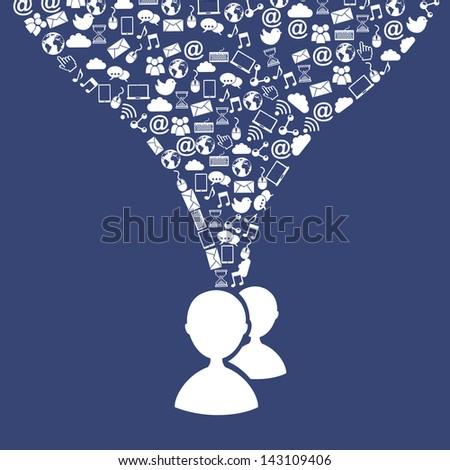 social media over blue background vector illustration - stock vector