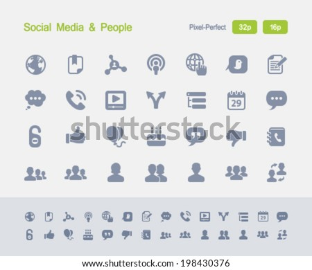 Social Media & People Icons. Granite Icon Series. Simple glyph stile icons optimized for two sizes. - stock vector