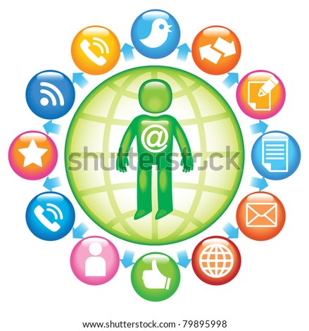Social-Media-Person.The development of global communications - stock vector