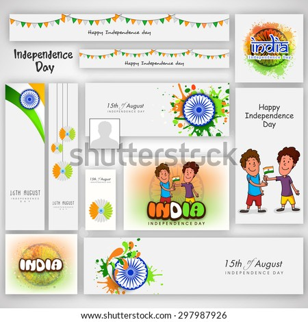 Social media post and header with beautiful elements for Indian Independence Day celebration. - stock vector