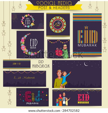 Social media posts, header or banner with various Islamic elements for Muslim community festival, Eid celebration. - stock vector
