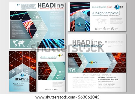 Social Media Posts Set Business Templates Stock Vector - Social media post template