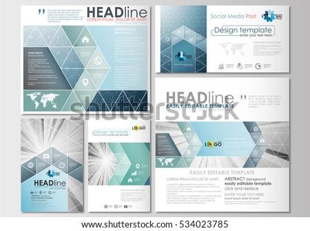 Social Media Posts Set Business Templates Stock Vector - Template for social media posts