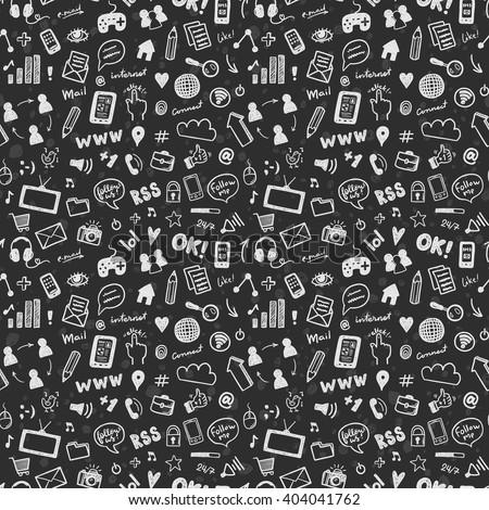Social Media Sketch Vector Seamless Pattern Stock Vector HD Royalty