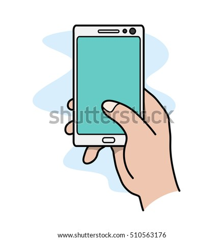 Social Media Smartphone Concept. A hand drawn vector doodle illustration of a hand using smartphone.