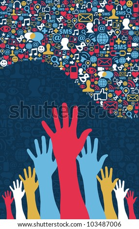 Social media strategy. Icons set in wave shape layout with hands. Vector file layered for easy manipulation and custom coloring. - stock vector