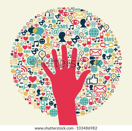 Social media success circle with hand. Vector file layered for easy manipulation and custom coloring. - stock vector