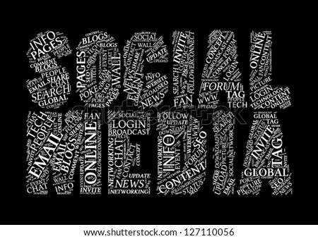 Social Media Tag Cloud Typographic Illustration - stock vector