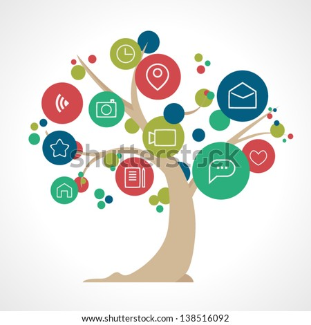 Social media tree - stock vector
