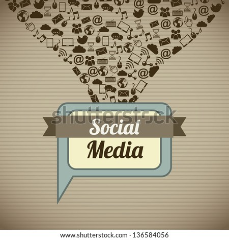 social media vintage over brown background. vector illustration - stock vector