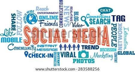 Social Media Word and Icon Collage - stock vector