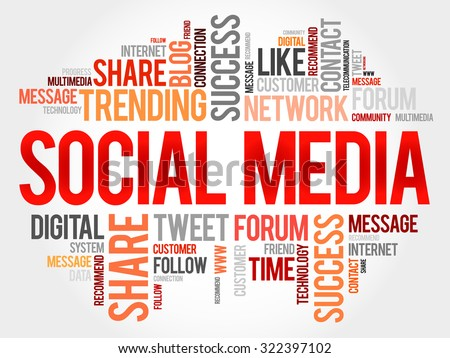 Social Media word cloud, business concept - stock vector