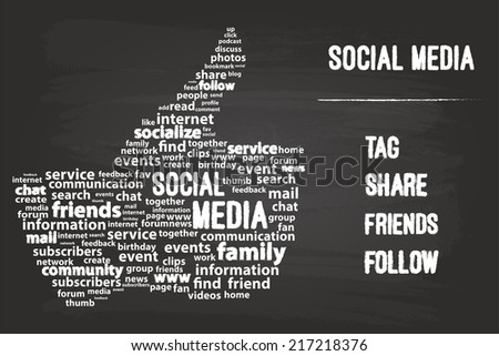 Social Media Word Cloud Concept On Blackboard - stock vector