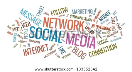 Social media word cloud vector illustration. Isolated on white background. - stock vector