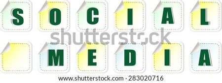 social media word on stickers set vector - stock vector