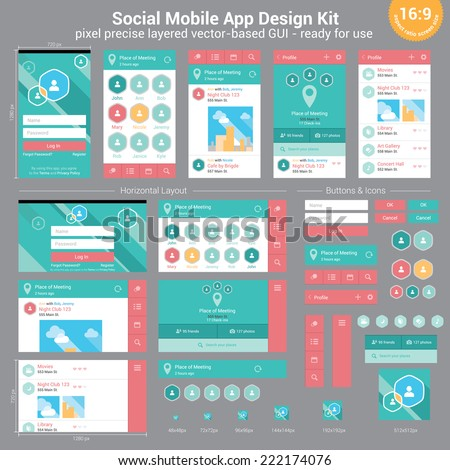 Social Mobile App Design Kit - pixel precise layered vector-based GUI - ready for use - stock vector