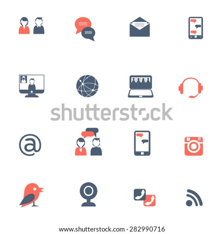 Social network and online communication with laptops and smartphones black red icons set flat isolated vector illustration  - stock vector