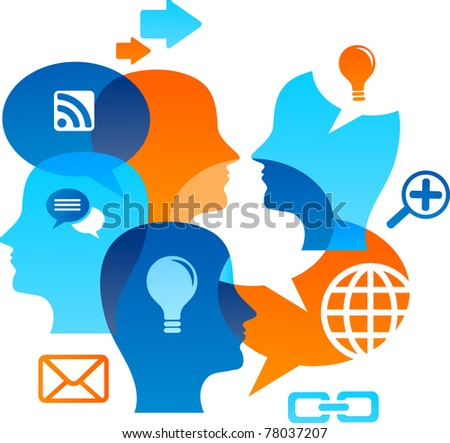 Social network backgound with media icons - stock vector