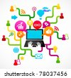 Social network background with media icons - stock photo