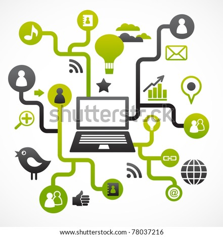 Social network background with media icons - stock vector