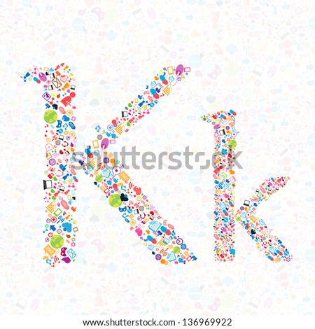 Social network background with media icons K. Vector illustration