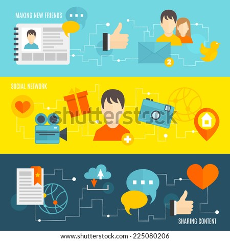 Social network banner set with making new friends sharing content isolated vector illustration - stock vector