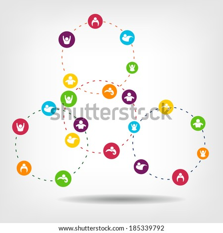 Social Network Circles Vector to be use in infographic. Abstraction of a social structure, social technologies, group of people in cyberspace, group of web affiliations, friend relations, sociograms - stock vector