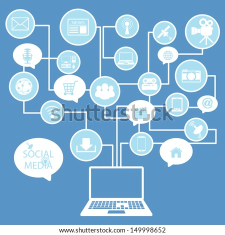 social network, communication in the global computer  - stock vector