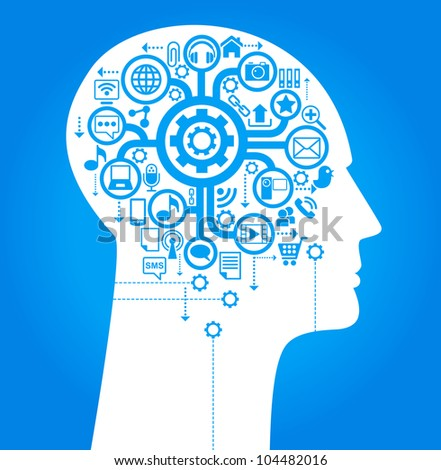 social network, communication in the global computer networks. silhouette of a human head with an interface icons - stock vector