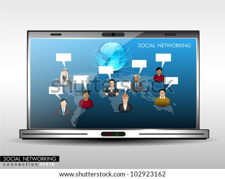 Social network, communication in the global networks showing with worldwide people communicating and laptop screen.isolated on white background. EPS 10. Vector illustration. - stock vector