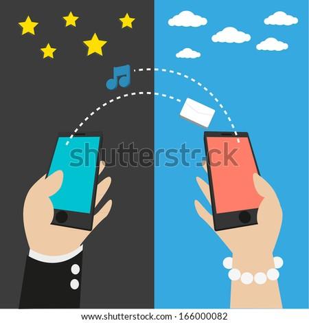 social network, communication love in the global - vector  - stock vector