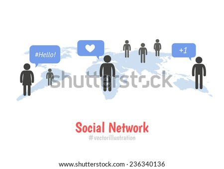 Social network concept. Colorful Pictogram people on world map - stock vector