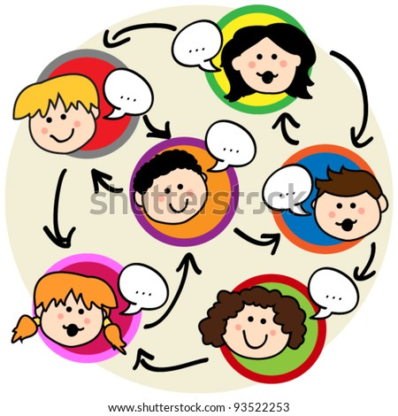 Social network concept: fun cartoon of kids talking and being interconnected - stock vector